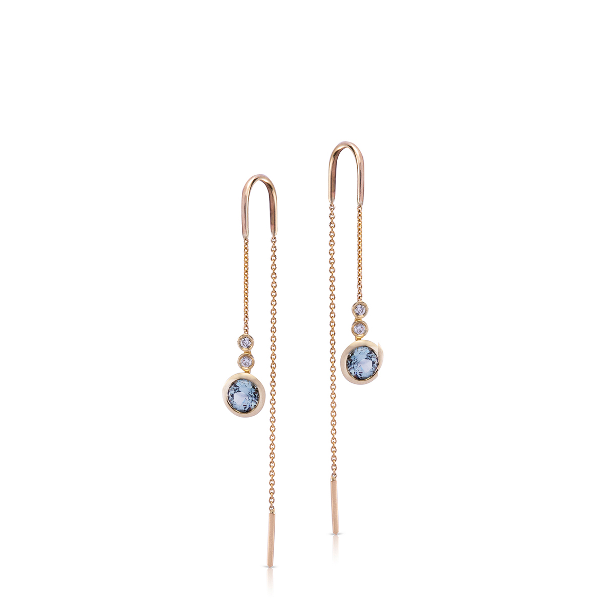 Spinel and diamond gold chain earrings