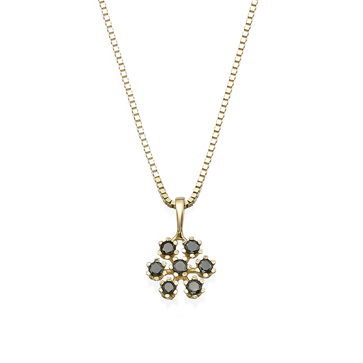 Snowflake black diamonds necklace