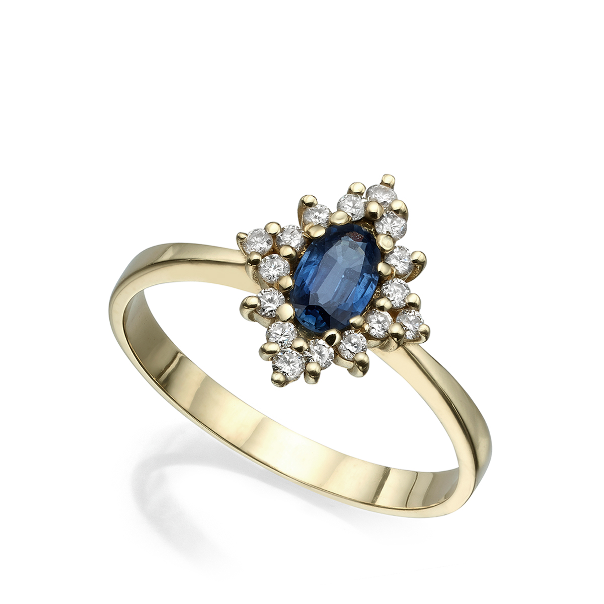 Vintage style gold ring with blue sapphire and diamonds