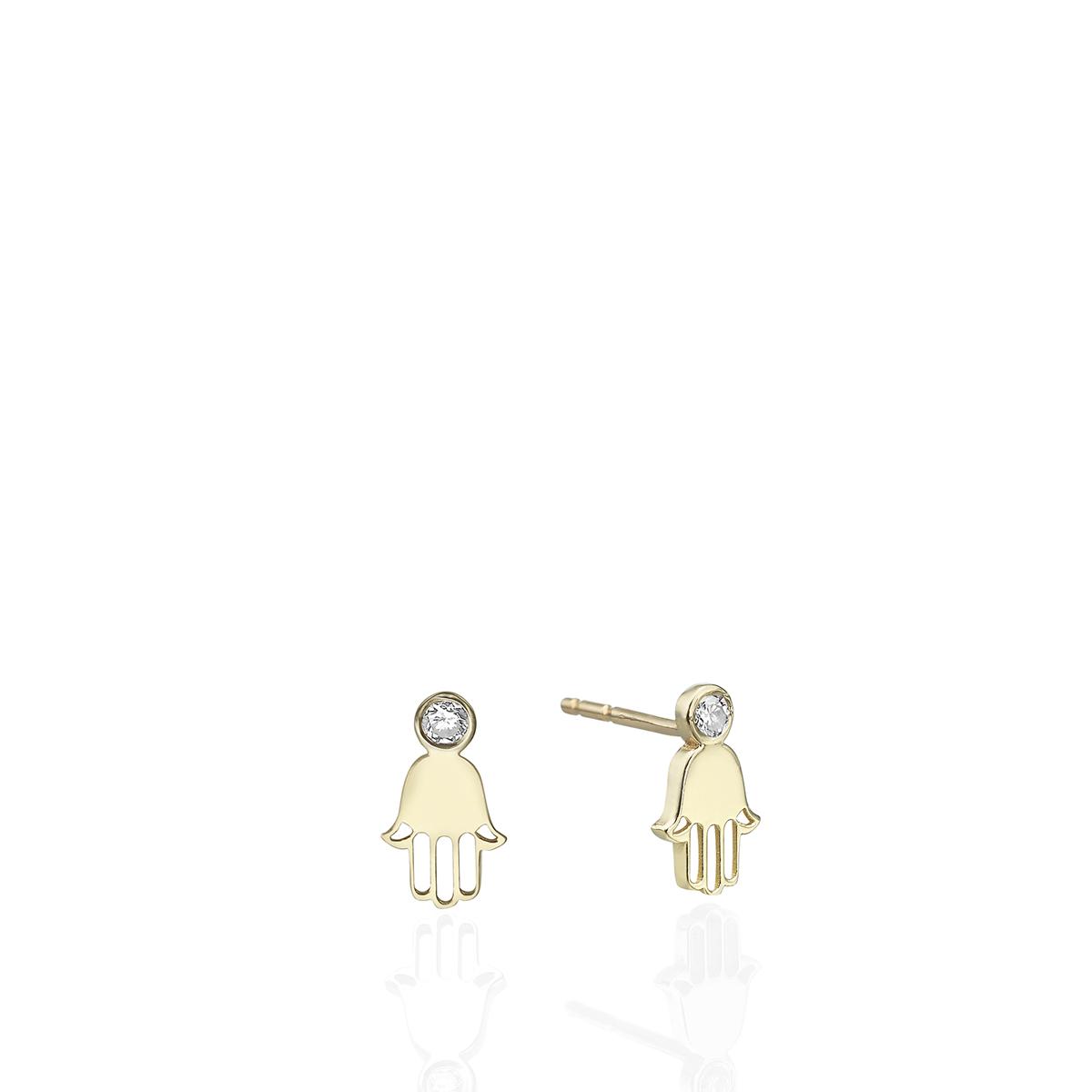 Gold Hamsa Earrings Set With Diamonds