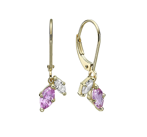 Marquise shaped pink Sapphire and Diamonds earrings