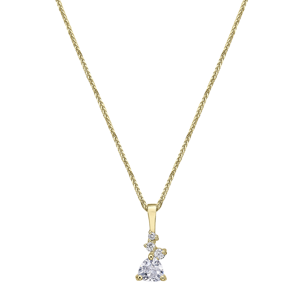 Trillion-cut diamond pendant and mixed small diamonds gold necklace