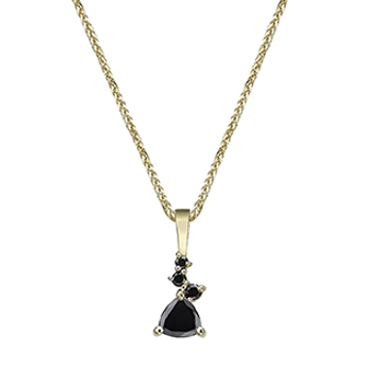Trillion-cut black diamond pendant and mixed small black diamonds gold necklace