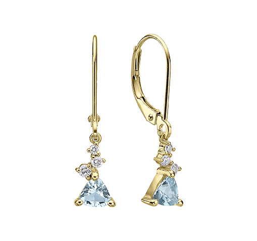 Dangle gold earrings  set with a trillion cut Aquamarine and small diamonds