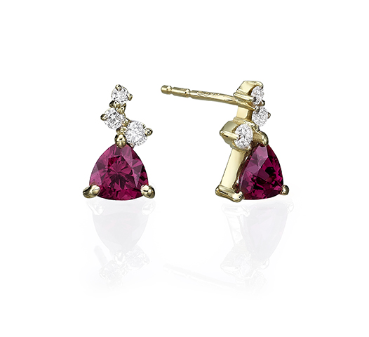 Studs gold earrings  set with a trillion cut Rhodolite and small diamonds