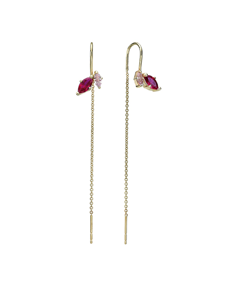 Marquise shaped ruby and champagne garnet earrings