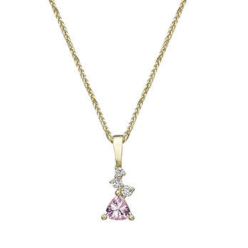 Trillion-cut Morganite pendant and mixed small diamonds gold necklace