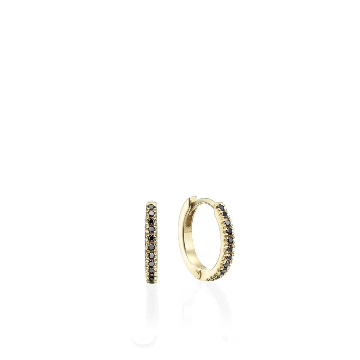 Gold black diamond hoops