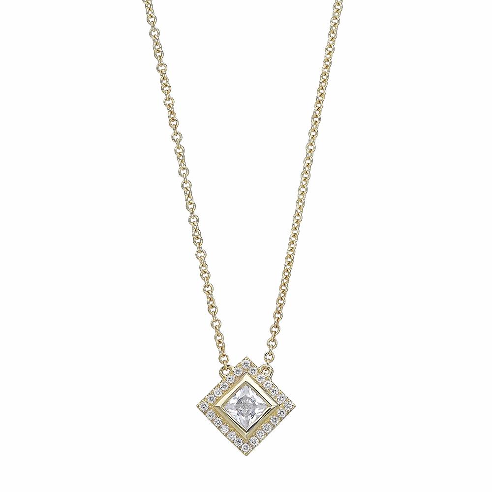 Unique square halo design diamond bridal necklace