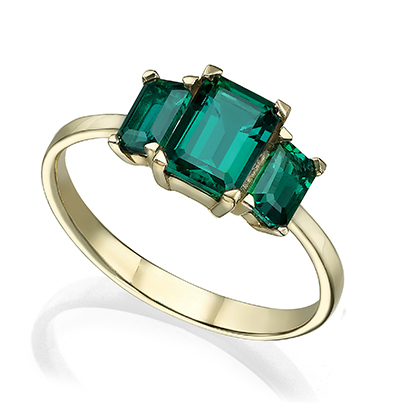 Large lab Emerald gold ring rectangle cut