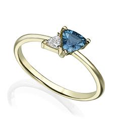 Dainty unique minimalist Sapphire and Diamond gold ring