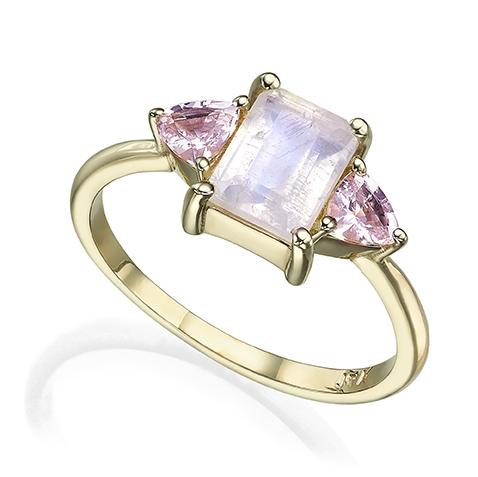 Gold Moonstone Engagement Ring, Light Pink Morganite Ring