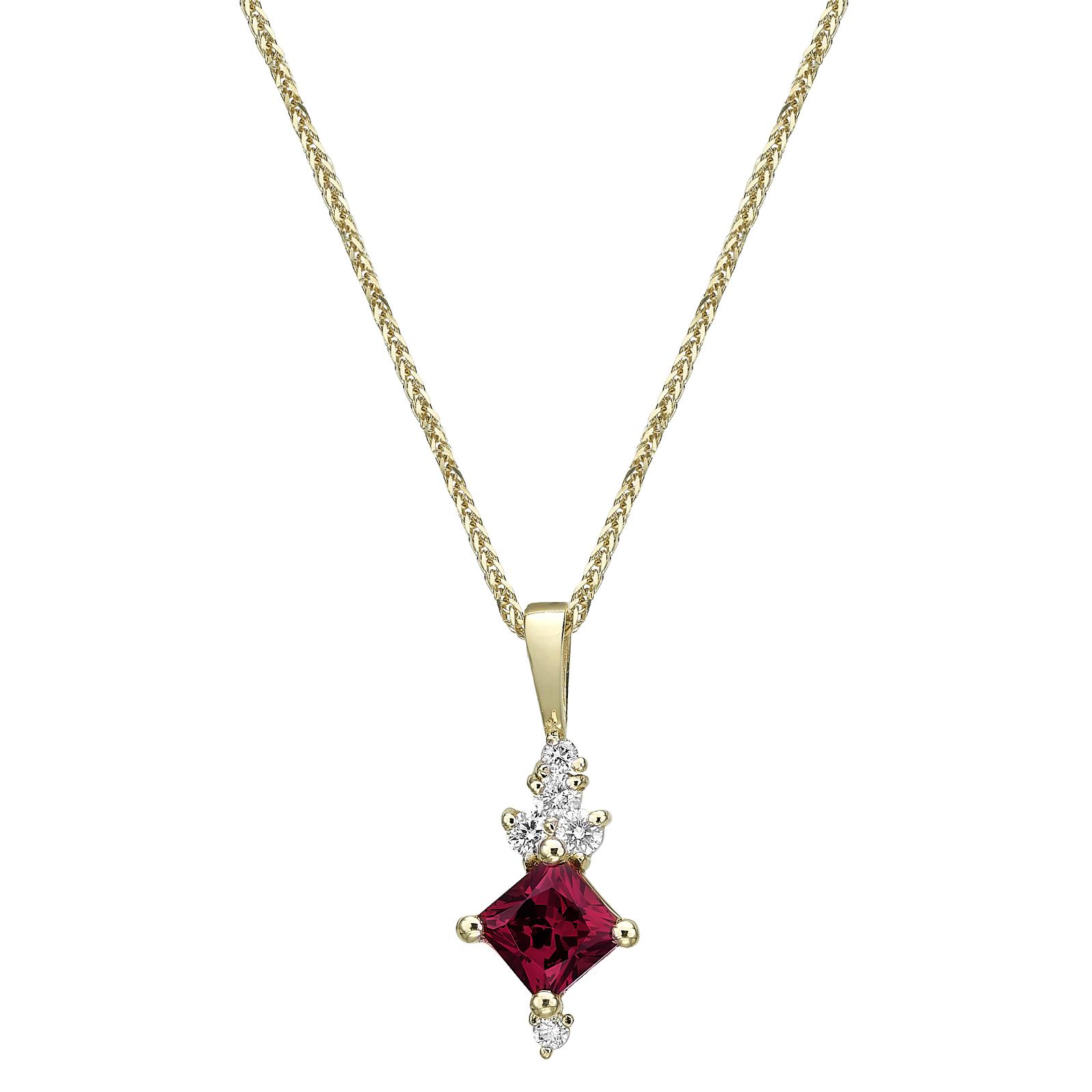 Burgundy square Rhodolite gold necklace