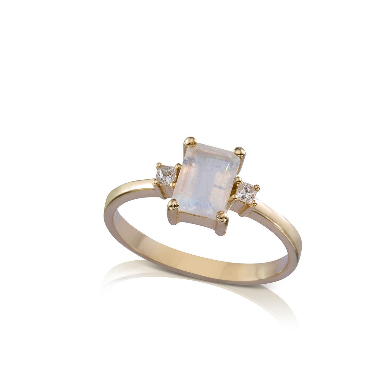 Moonstone and diamonds engagement ring