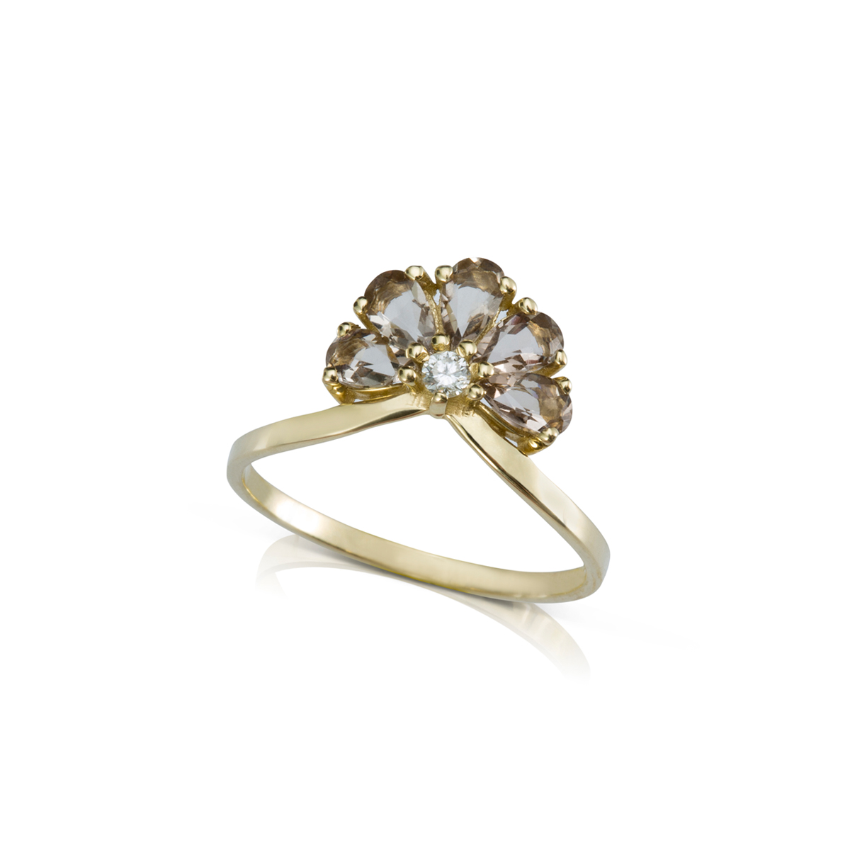 Smoky quartz flower with diamond engagement ring