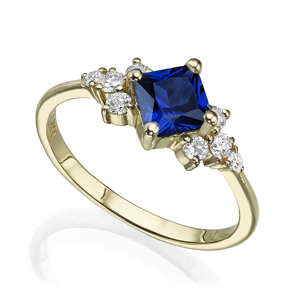 Princess cut sapphire with diamonds engagement ring