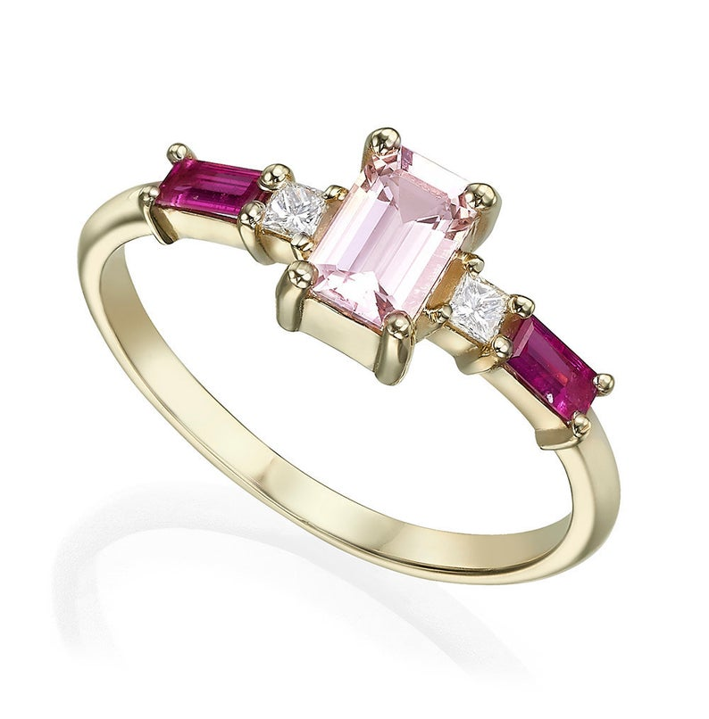 Morganite, ruby and diamond multi stone engagement ring