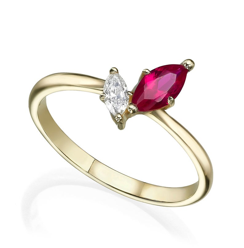 Marquise ruby and diamond engagement ring
