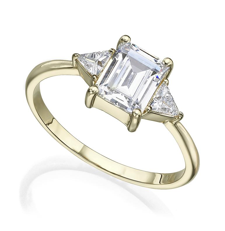 Emerald cut and 2 trillion cut total 1.0 carat diamond ring