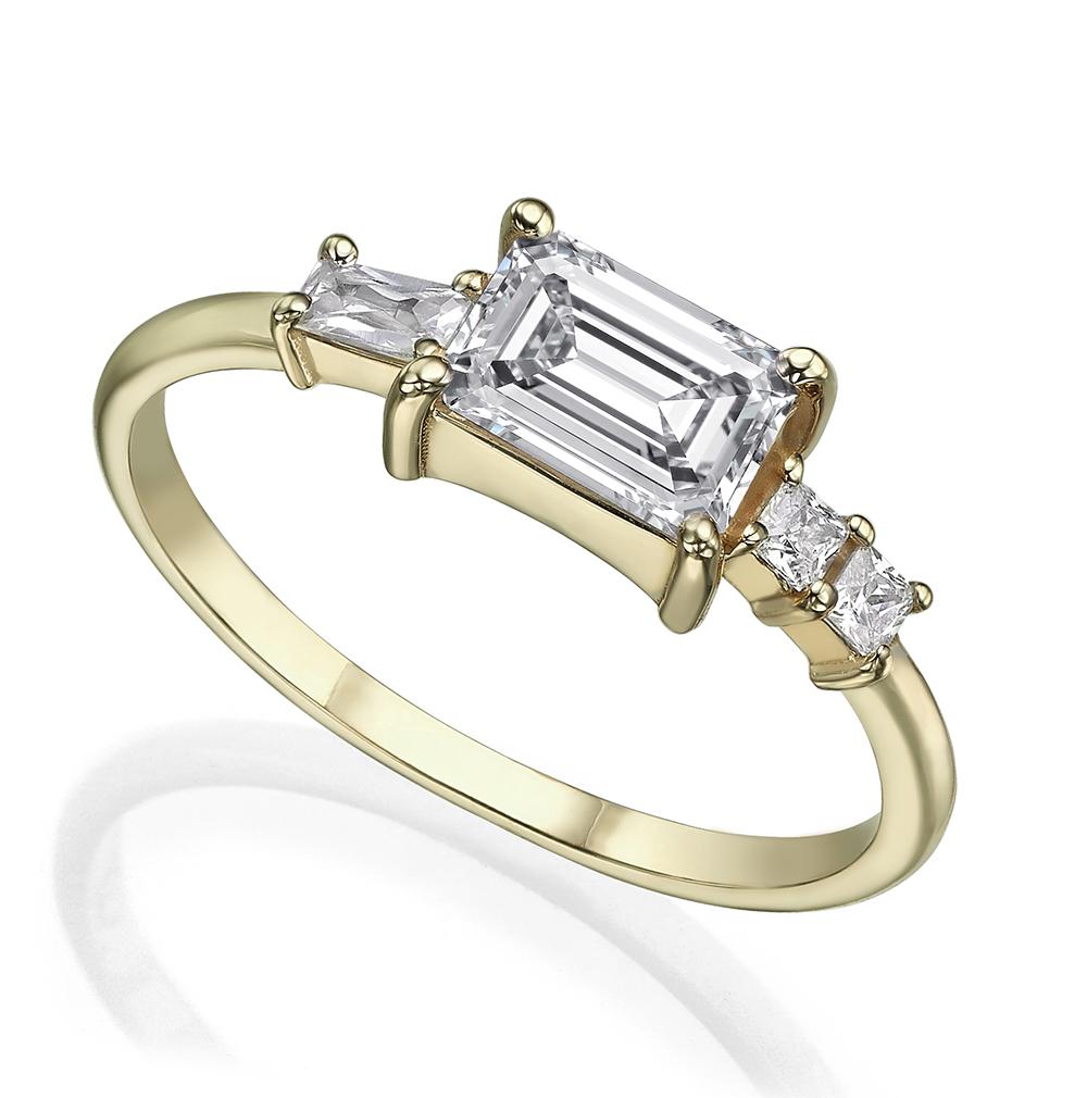Emerald, baguette and princess-cut total 0.90 carat diamond engagement ring