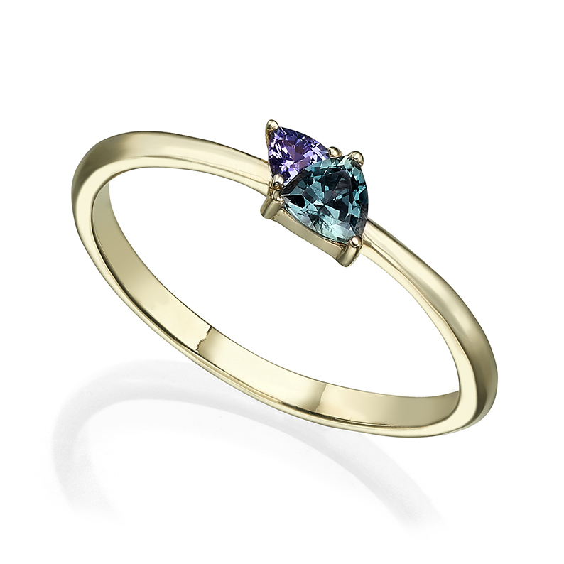 Sapphire and tanzanite trillion-cut engagement ring